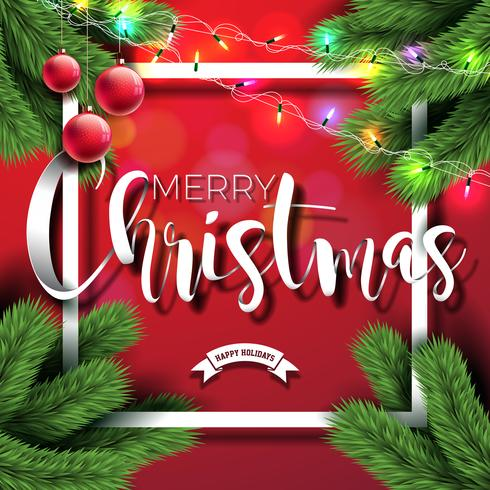 Merry Christmas Illustration on Red Background