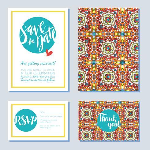 Antigua, tarjeta vintage de azulejos de boda en estilo azulejos portugueses. vector