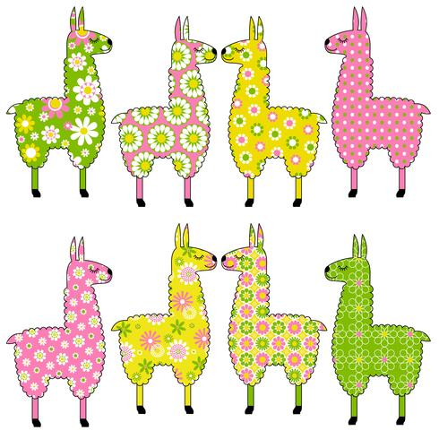 cute llamas with floral patterns vector