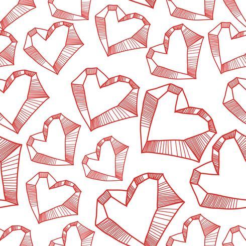 Seamless mönster med valentinhjärtan, skissritning för din design
