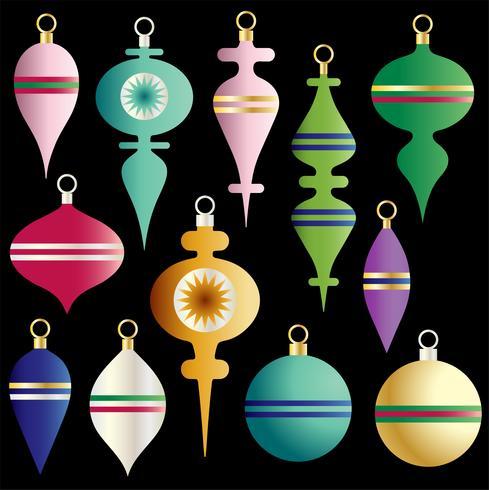 Navidad coloridos adornos vector clipart set