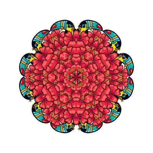 Runda prydnadsstil psychedelic 60s av tropisk växt och element vektor