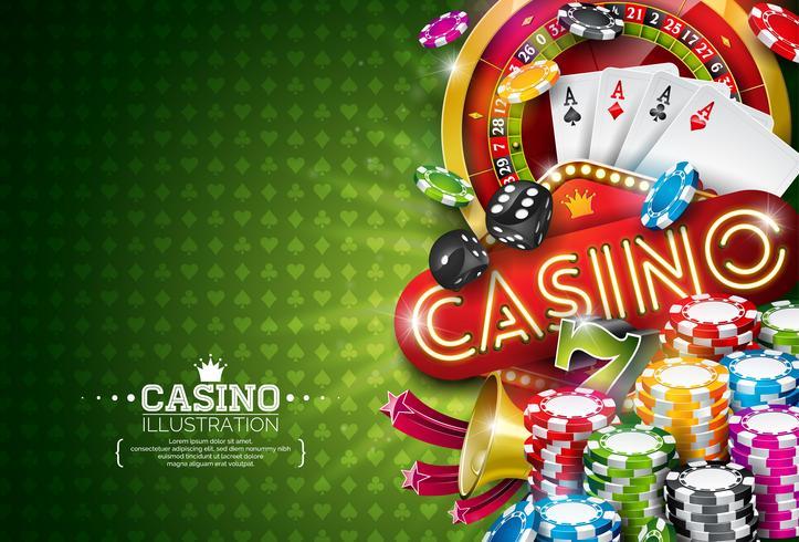 Ilustração de cassino com roleta e fichas de pôquer