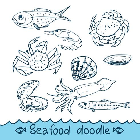 Seafood, painted in the style of doodle, sketch, Scribble. vector