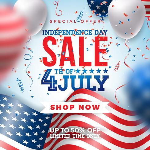 Fourth of July Independence Day Sale Banner Design vector