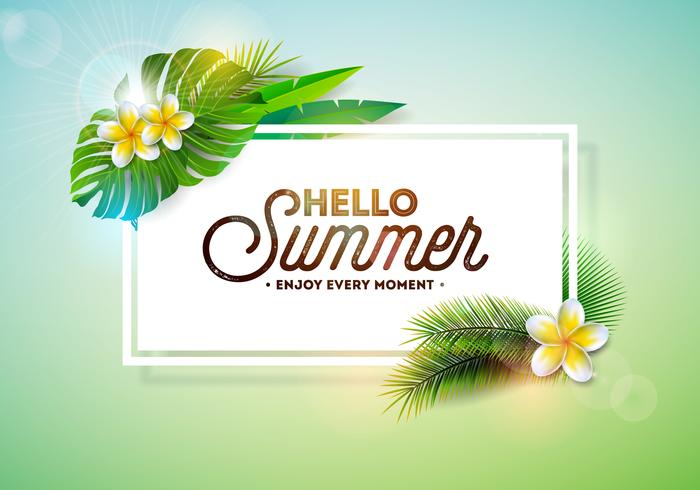 """Hello Summer"" Semester typografi illustration vektor"