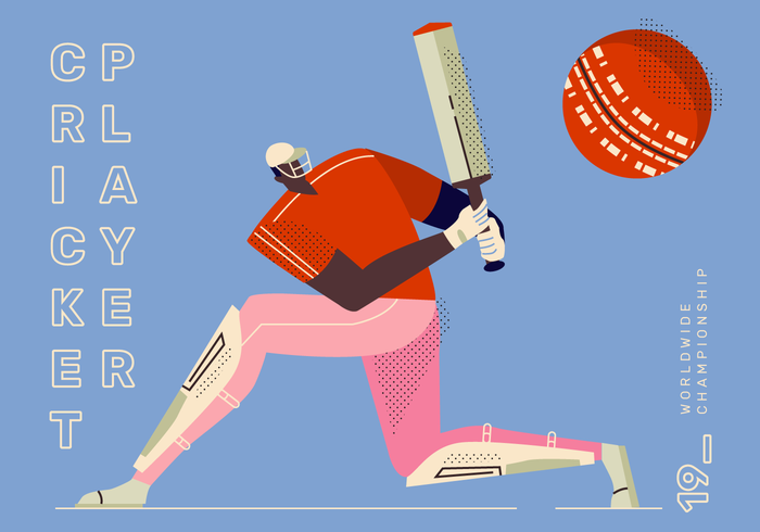 Cricket Player Pose Hitting Vector Character Illustration