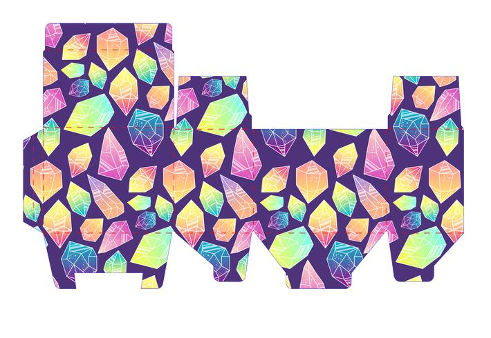 Caixa padrão de modelo com cristais.
