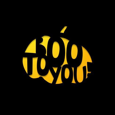 Halloween - BOO till dig. Laserskärmsmall vektor