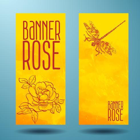 Banner mit Rose und Libelle in Gekritzel