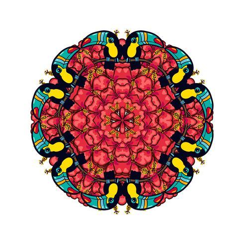 Adorno redondo estilo psicodélico años 60 de plantas y elementos tropicales.