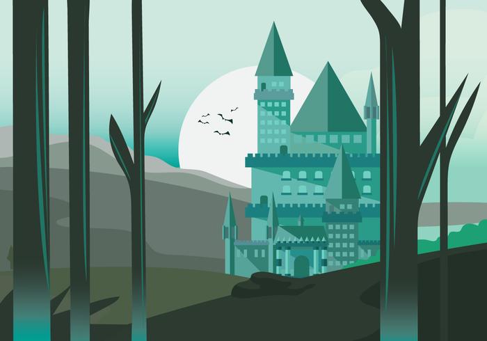 Mago escuela castillo Vector fondo ilustración