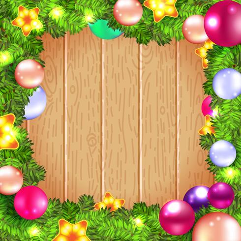 Guirnalda navideña con adornos y árbol de navidad, vector