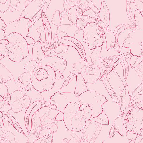 Sem costura padrão retro com orquídea