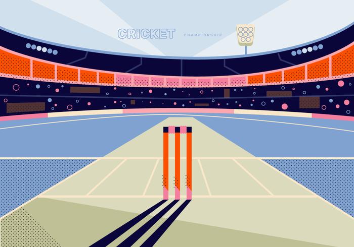 cricket stadion achtergrond vectorillustratie