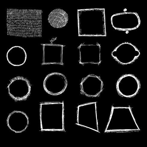 Formes géométriques à main levée, hachures.