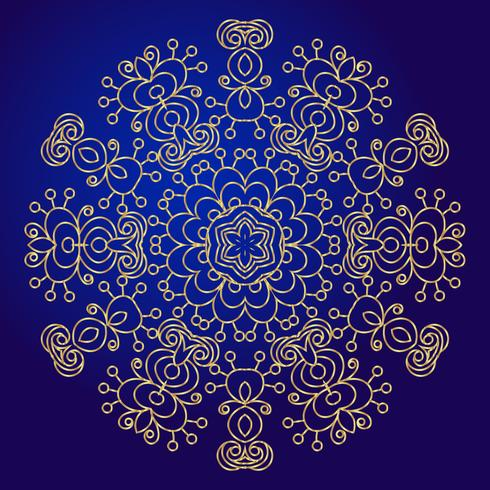 Mandala, amulet. Esoteric gold symbol on a blue background. vector