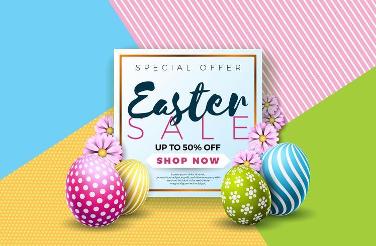 Illustration de vente de Pâques avec oeuf peint en couleur et élément de typographie vecteur
