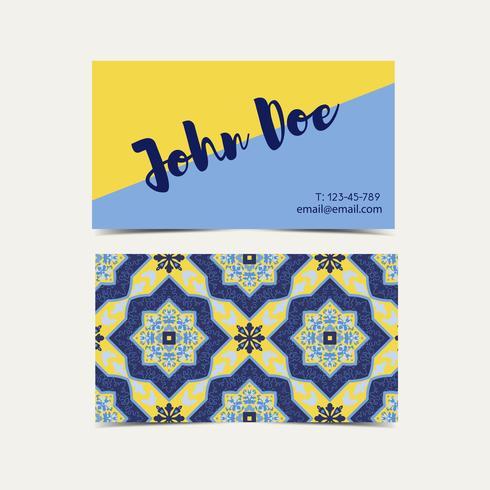 Business card  Portuguese azulejos.  vector