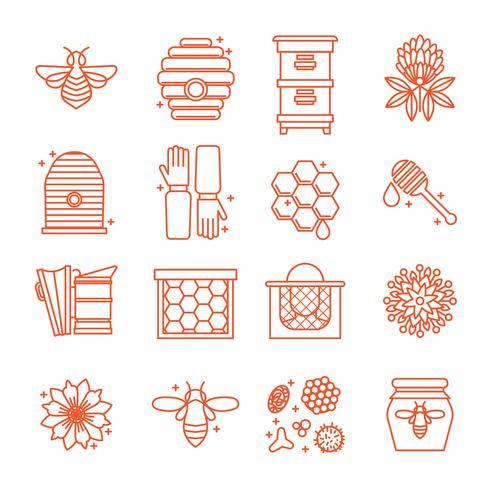 Iconos de miel y apicultura.