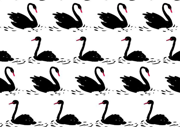 Couple of black swan. Seamless pattern. vector