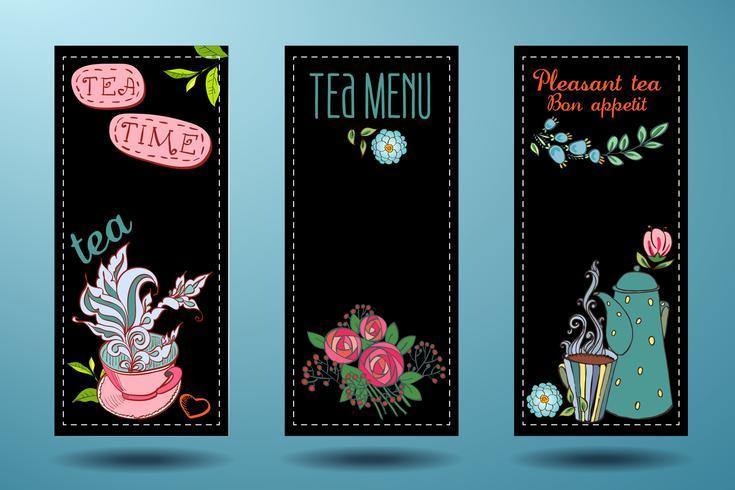 striscioni con tazze, teiere e tè, carta del tè