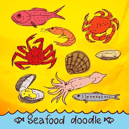 Gekritzel-Serie Meeresfrüchte Vektor festgelegt
