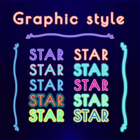 stili grafici retrò al neon