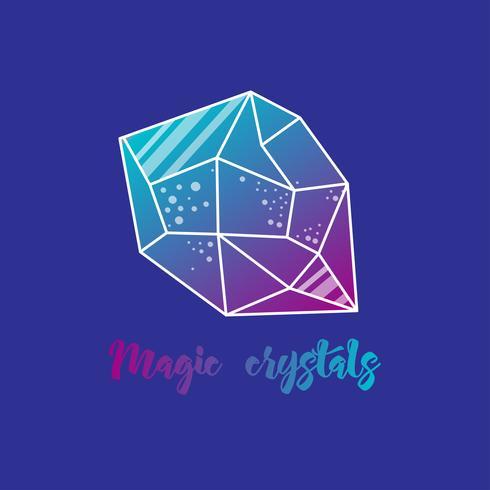 Cristalli magici di forma piramidale. vettore