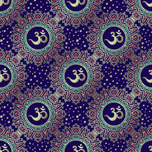 Nahtloses Mustergold Omh-Weinlese auf Blau.