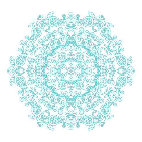 Mandala esotérico floral do vintage redondo do ornamento. vetor