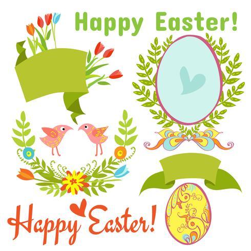 ägg, fåglar, blommor, påsk vektor