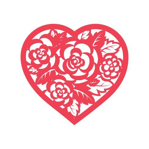 Mallhjärta med rosor för laserskärning. vektor