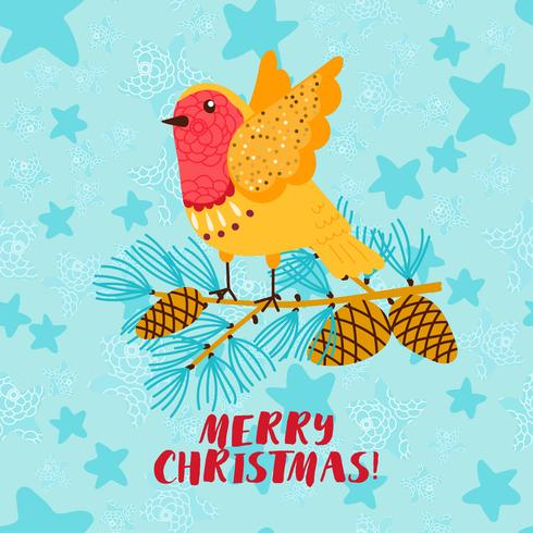 Tarjeta de felicitación de feliz Navidad con pájaro robin vector