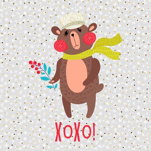 Tarjeta de felicitación del oso de peluche de Navidad vector