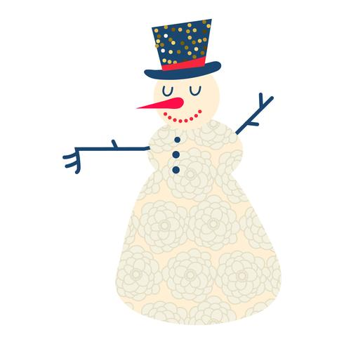 Cute and funny cartoon snowman  vector