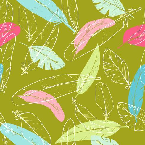 Vector naadloos patroon met de veren van de raaf. pastelkleur