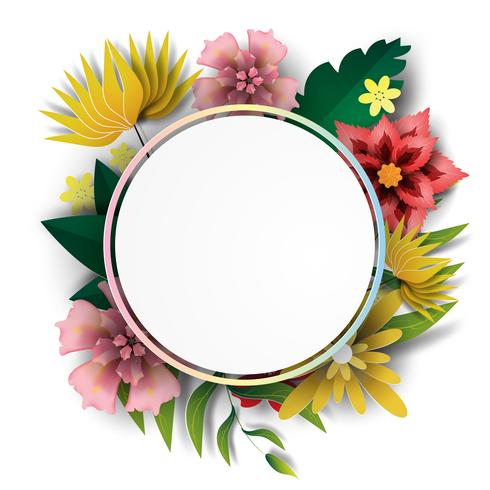 Paper art of  Frame circle with nature green colorful leaf and flower.vector