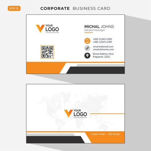 Orange elegante Unternehmensvisitenkarte vektor
