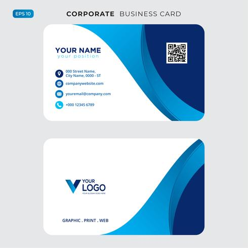 Blue wavy business card Free Psd vector