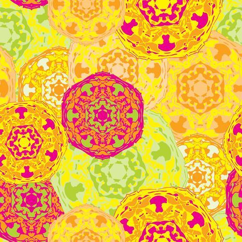 Padrão sem emenda cigano de mandalas redondas multicoloridas abstratas. vetor