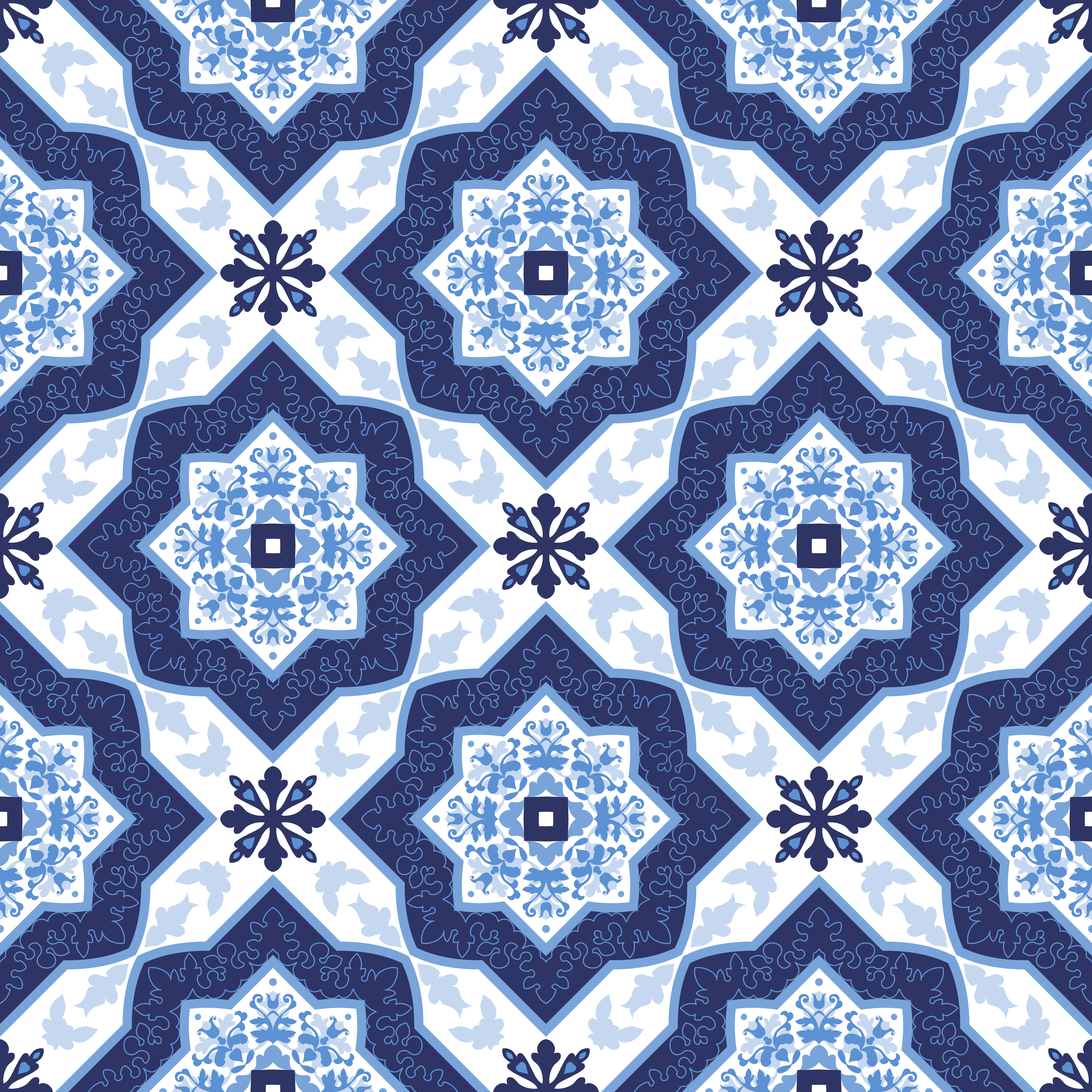 Portuguese Azulejo Tiles Seamless Patterns Download
