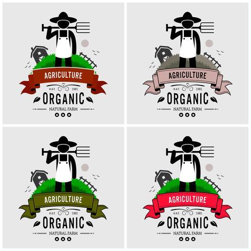Création de logo paysan. vecteur