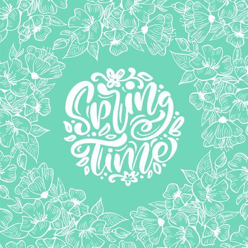 Cornice floreale vettoriale per biglietto di auguri con testo scritto a mano Tempo di primavera. Illustrazione scandinava piana isolata sul modello del fondo del turchese. Disegno di natura disegnata a mano