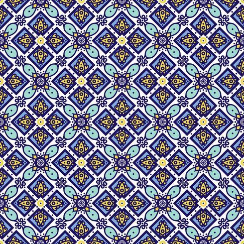 Adorno azul tradicional azulejos portugueses. Patrón sin costuras oriental vector
