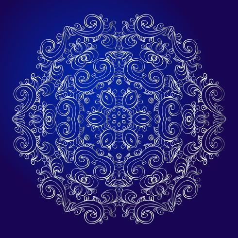Mandala, amulet. Esoteric silver symbol on a blue background. vector