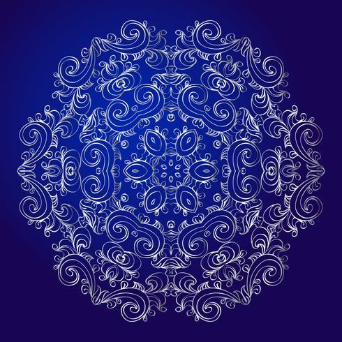 Mandala, amulett. Esoterisk silver symbol på en blå bakgrund. vektor