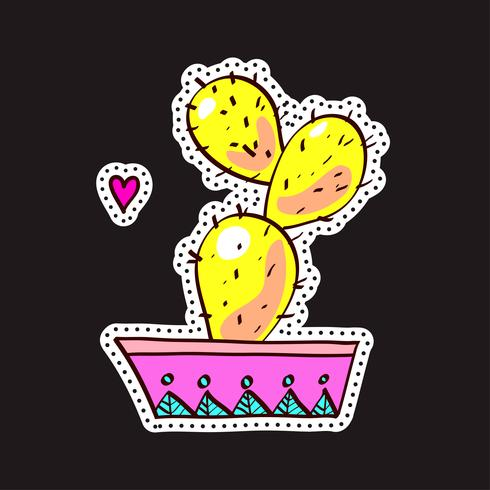 Fashion patches, brooches with cacti vector