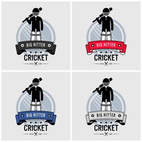 Cricket logo design del club. vettore