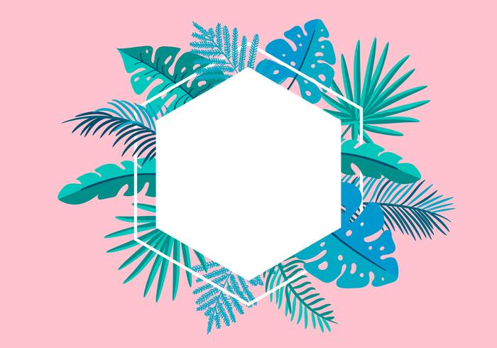 Summer Vector floral frame tropical leaves palm with place for text. color design elements for print, greeting card. isolated illustration on pink background